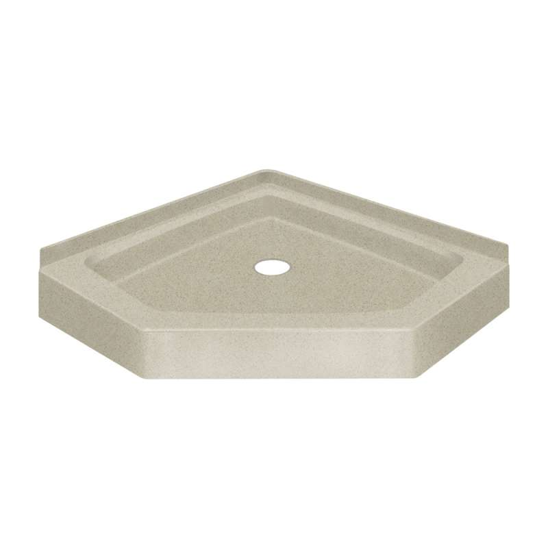 38 X 38 Neo Angle Solid Surface Shower Base With Center Drain In Peppered Sage