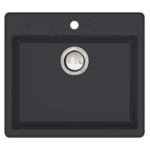 Transolid Quantum 22in x 20in silQ Granite Drop-in Single Bowl Kitchen Sink with 1 Pre-Drilled Faucet Hole, in Black