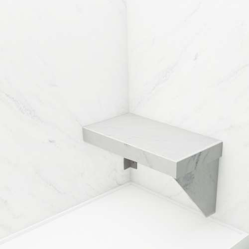 Transolid Studio Rectangular Shower Seat in White Carrara