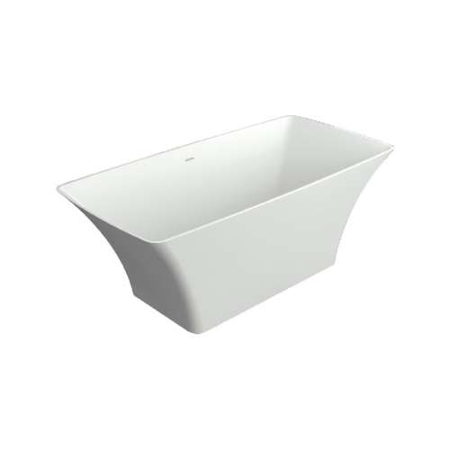 Transolid Lynville 60-in L x 30-in W x 24-in H Resin Stone Freestanding Bathtub with center drain, in White