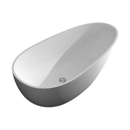Transolid Marisol 58-in L x 29-in W x 23-in H Resin Stone Freestanding Bathtub with center drain, in White