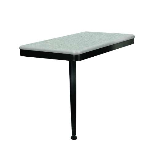 24in x 12in Left-Hand Shower Seat with PVD Coated Matte Black Frame and Leg, in Grey Beach