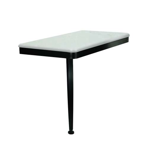 24in x 12in Left-Hand Shower Seat with PVD Coated Matte Black Frame and Leg, in Lunar