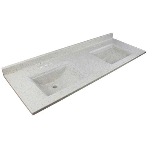 Transolid Savannah 61-in Premium Cultured Marble Vanity Top with Two Integrated Sinks
