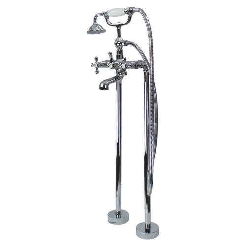 Transolid Cromwell Free Standing Tub Filler With Hand Shower, Polished Chrome