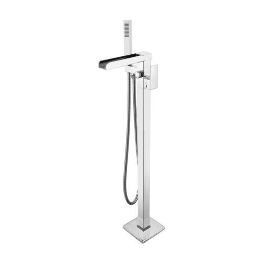 Transolid Roslyn Floor Mounted Tub Filler with Hand Shower, Polished Chrome