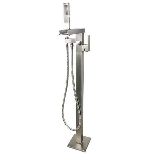 Transolid Roslyn Floor Mounted Tub Filler with Hand Shower, Brushed Nickel