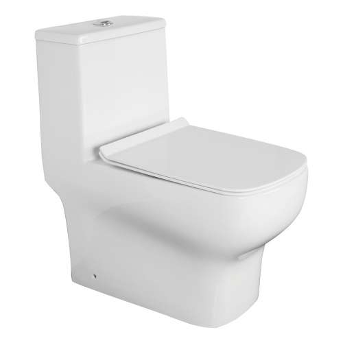 Transolid Cleveland 1-Piece Elongated Vitreous China Dual Flush 1.28/0.8 gpf Toilet with toilet seat, White