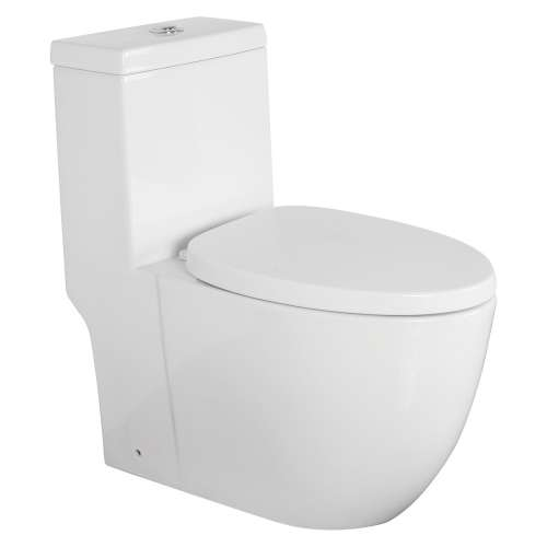 Transolid Pierce 1-Piece Elongated Vitreous China Dual Flush 1.28/0.8 gpf Toilet with toilet seat, White