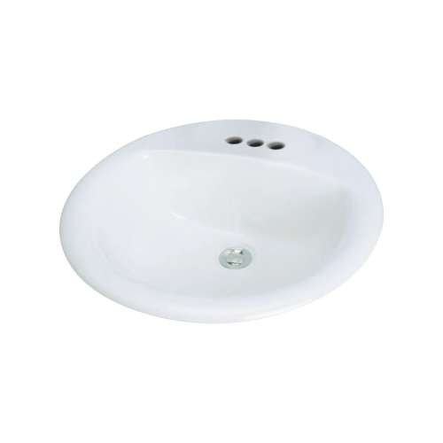Transolid Preston Vitreous China 20-in Round Drop-in Lavatory with 4-in CC Faucet Holes