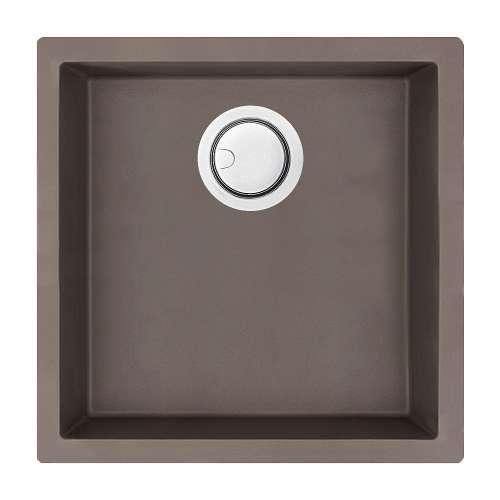 Transolid Zero 18in x 18in silQ Granite Integral/Dual Mount Single Bowl Kitchen Sink with 0 Holes, In Espresso