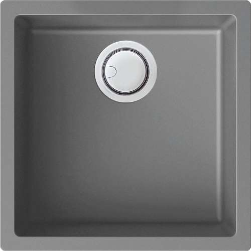 Transolid Zero 18in x 18in silQ Granite Integral/Dual Mount Single Bowl Kitchen Sink with 0 Holes, In Grey