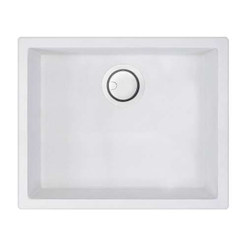 Transolid Zero 22in x 18in silQ Granite Integral/Dual Mount Single Bowl Kitchen Sink with 0 Holes, In Total White