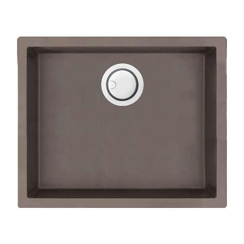 Transolid Zero 22in x 18in silQ Granite Integral/Dual Mount Single Bowl Kitchen Sink with 0 Holes, In Espresso