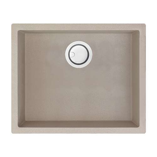 Transolid Zero 22in x 18in silQ Granite Integral/Dual Mount Single Bowl Kitchen Sink with 0 Holes, In Champagne