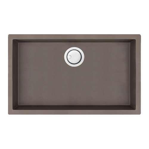 Transolid Zero 30in x 18in silQ Granite Integral/Dual Mount Single Bowl Kitchen Sink with 0 Holes, In Espresso
