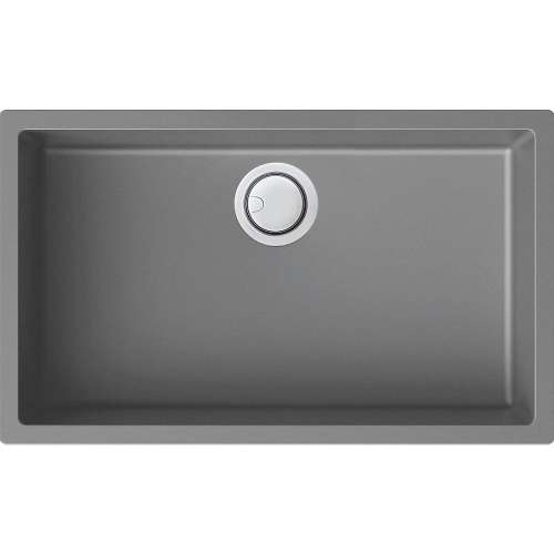 Transolid Zero 30in x 18in silQ Granite Integral/Dual Mount Single Bowl Kitchen Sink with 0 Holes, In Grey