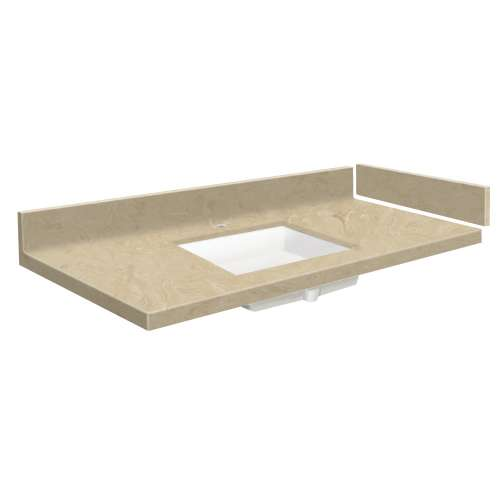39.5 in. Solid Surface Vanity Top in Almond Sky with Single Hole
