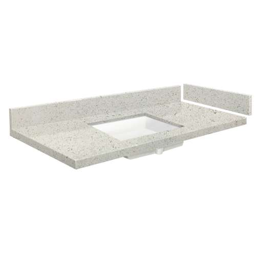 54.5 in. Quartz Vanity Top in Almond Delite with 4in Centerset
