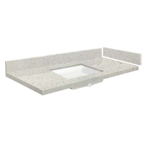 49 in. Quartz Vanity Top in Almond Delite with 8in Centerset