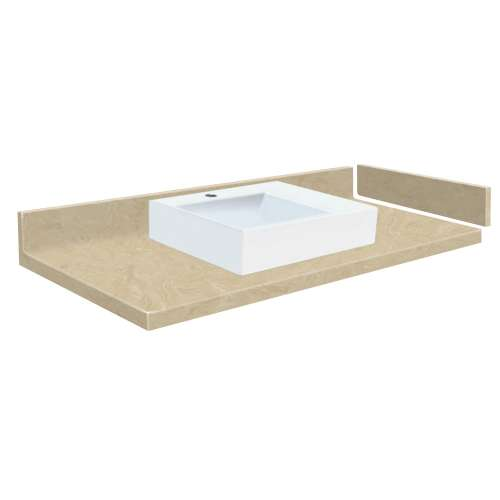 42.5 in. Solid Surface Vessel Vanity Top in Almond Sky with Single Hole