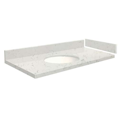 49 in. Quartz Vanity Top in Antique White with 8in Centerset