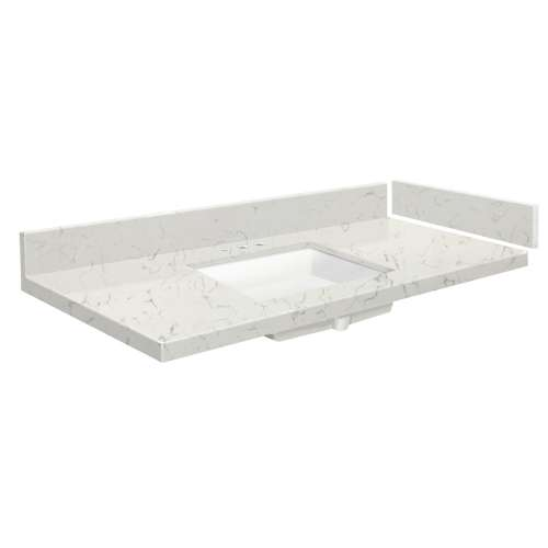 43.5 in. Quartz Vanity Top in Antique White with 8in Centerset