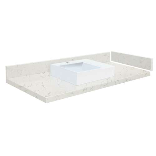 49.25 in. Quartz Vessel Vanity Top in Antique White with Single Hole