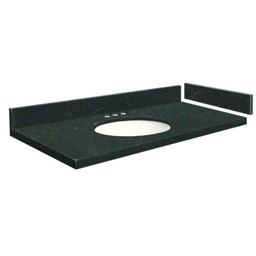 43.25 in. Quartz Vanity Top in Black Carrara with 8in Centerset