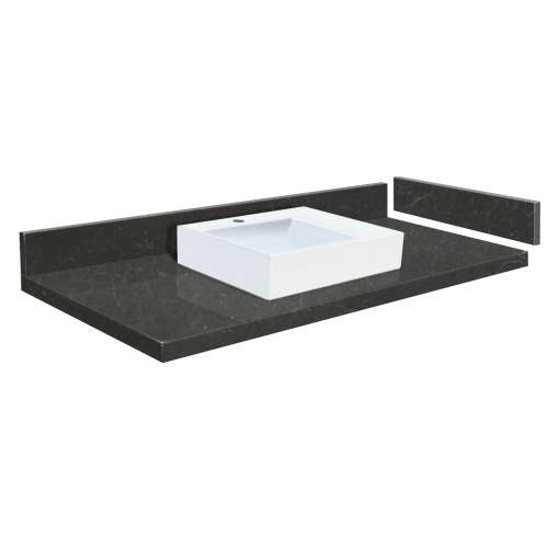 42.75 in. Quartz Vessel Vanity Top in Black Carrara with Single Hole