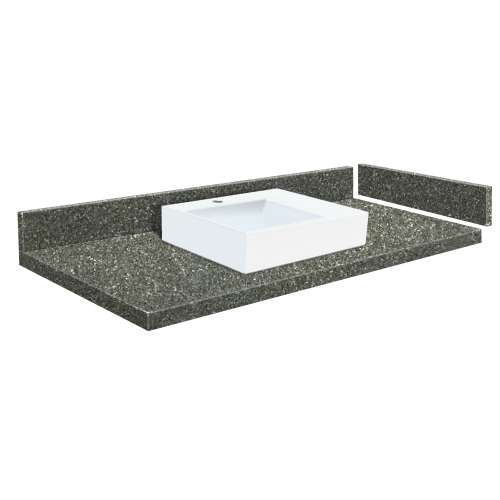 49.25 in. Quartz Vessel Vanity Top in Greystone with Single Hole