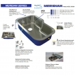 Transolid Meridian 25in x 22in 16 Gauge Drop-in Single Bowl Kitchen Sink with 2-Holes with Grid, Strainer, Installation Kit