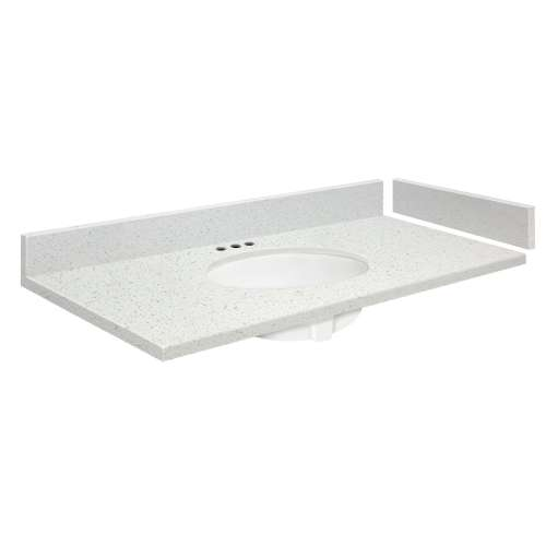 42.75 in. Quartz Vanity Top in Milan White with 4in Centerset