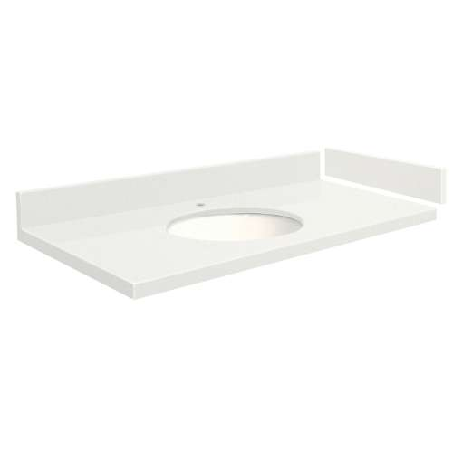 43 in. Quartz Vanity Top in Milan White with Single Hole