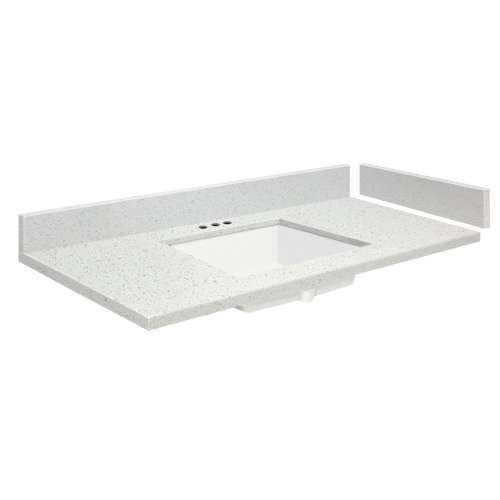 49 in. Quartz Vanity Top in Milan White with 4in Centerset