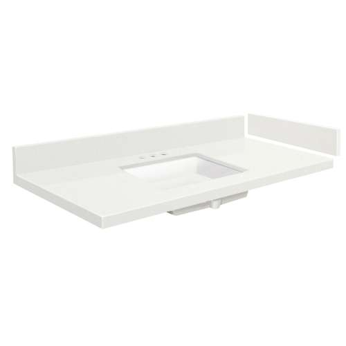 48.75 in. Quartz Vanity Top in Milan White with 8in Centerset