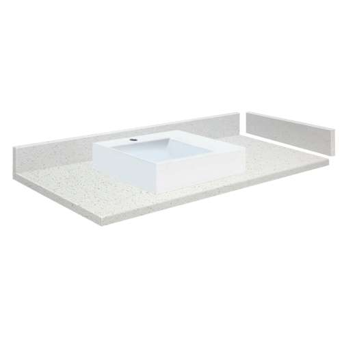 43 in. Quartz Vessel Vanity Top in Milan White with Single Hole