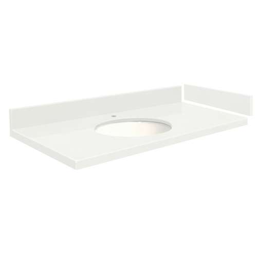 43 in. Quartz Vanity Top in Natural White with Single Hole