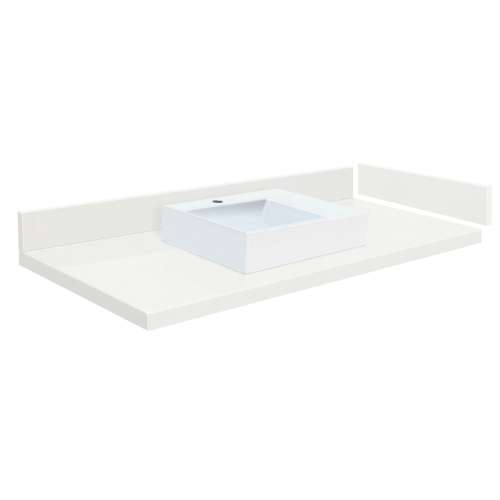 48.75 in. Quartz Vessel Vanity Top in Natural White with Single Hole