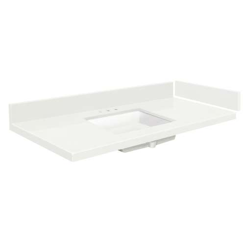 49.5 in. Quartz Vanity Top in Natural White with 8in Centerset