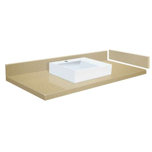 43.25 in. Quartz Vessel Vanity Top in Nature's Path with Single Hole