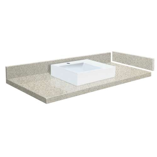 48.5 in. Quartz Vessel Vanity Top in Portage Pass with Single Hole