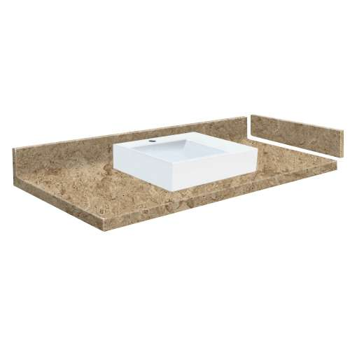 42.5 in. Solid Surface Vessel Vanity Top in Sand Mountain with Single Hole