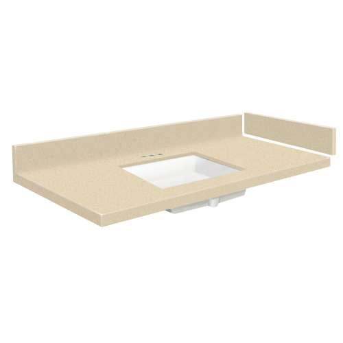 37.25 in. Solid Surface Vanity Top in Sea Shore with 4in Centerset