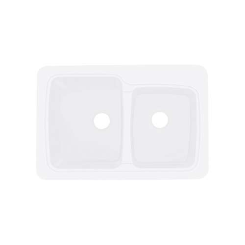Transolid Savannah 33in x 22in Solid Surface Drop-in Double Bowl Kitchen Sink, in White