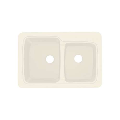 Transolid Savannah 33in x 22in Solid Surface Drop-in Double Bowl Kitchen Sink, in Almond