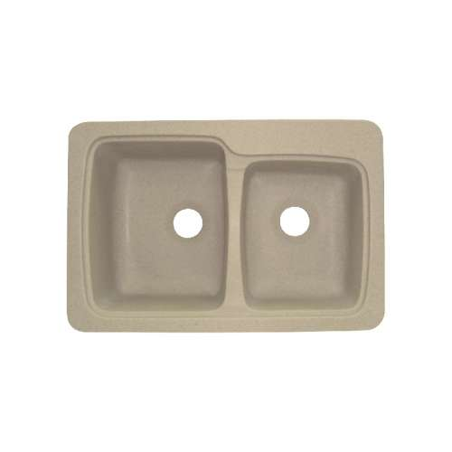 Transolid Savannah 33in x 22in Solid Surface Drop-in Double Bowl Kitchen Sink, in Matrix Sand