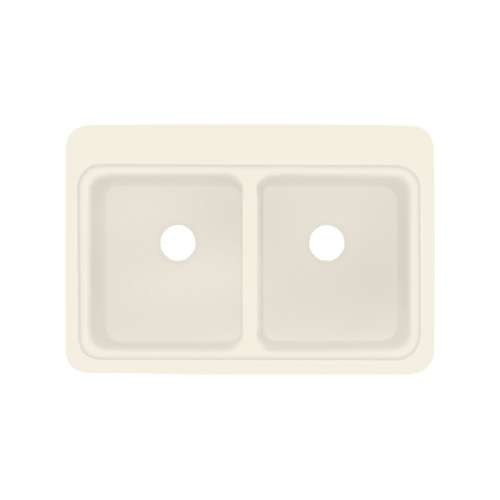 Transolid Charleston 33in x 22in Solid Surface Drop-in Double Bowl Kitchen Sink, in Almond