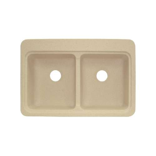 Transolid Charleston 33in x 22in Solid Surface Drop-in Double Bowl Kitchen Sink, in Matrix Sand