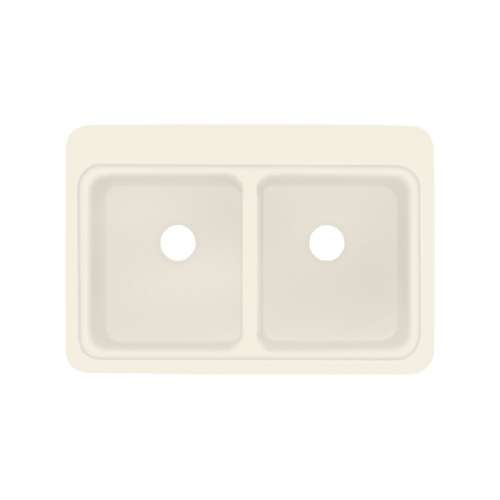 Transolid Charlotte 33in x 22in Solid Surface Drop-in Double Bowl Kitchen Sink,in Almond